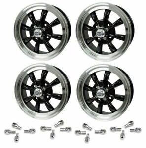 Set Of 4 15 X 5 1 2 Vw Bug 4 Lug Black Empi 8 Spoke Wheels Lug Nuts