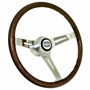 Empi 79 4022 Classic Vw Bug Steering Wheel With Adapter 15 Dark Wood 23mm Grip