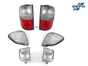 Depo Red Clear Tail Lights Clear Corner Lights For 1998 2000 Toyota Tacoma 4wd