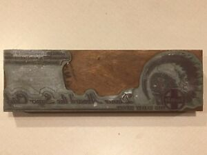 Vintage Santa Fe Railroad Train Printing Letterpress Printers Block 4 N4