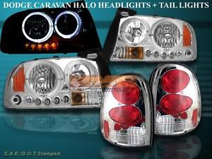1998 1999 00 03 Dodge Durango Chrome Halo Led Headlights Chrome Tail Lights New