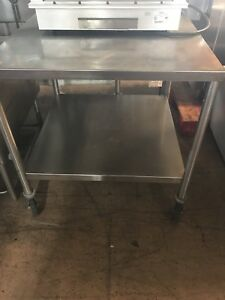 Stainless Steel Table On Wheels 2 Tiers