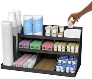 Coffee Stand Station Organizer Caddy Condiment Cup Lids Dispenser Holder Black