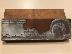 Vintage Santa Fe Railroad Train Printing Letterpress Printers Block 3 J1