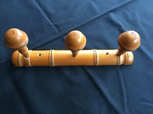 Vintage French Wooden Faux Bamboo Coat Hat Rack Towel Hook 3 Pegs Clothes Hanger