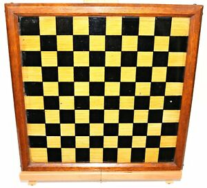 Antique Checkers Game Board Reverse Painted Glass Hand Made Great Color