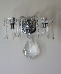 Pair Early 1930s Art Deco Crystal Wall Sconces Chrome Base