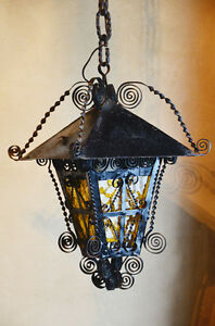 Antique French Country Wrought Iron Hanging Lantern