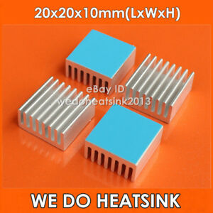 100pcs 1w 3w Led Power Heat Sink Aluminum 20x20x10mm Cooler With Thermal Pad