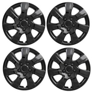 New Gloss Black 16 Hubcaps Wheelcover Set For 2010 2015 Mazda 3