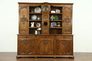 Country French Carved Oak Antique Pewter Cupboard Sideboard Server With Clock