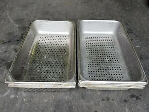 H d S s Full Size Perforated Steam Table Pan 4 deep 1 Lot Of 5