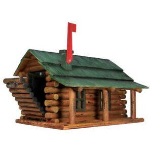Rivers Edge 054 Log Cabin Mailbox 16 w X 23 d X 15 h Brown green Lot Of 1