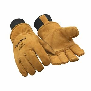 Large Heavy Duty Insulated Cowhide Leather Warm Winter Work Gloves For Men Gold