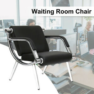 Black Leather Executive Reception Chair Office Waiting Room Guest Reception