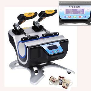 Double Station Coffee Mug Cup Sublimation Heat Press Transfer Machine Printer Us