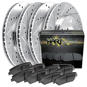 Front Rear Kit Platinum Hart Drill Slot Brake Rotors Ceramic Pads 1931