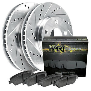 Front Kit Platinum Hart Drilled Slotted Brake Rotors Ceramic Pads 1449