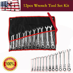 12 Pc 8 19mm Metric Flexible Head Ratcheting Wrench Spanner Combo Tool Set Us Bp