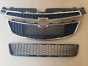 3pc Set 2011 2014 Chevy Cruze W Rs Pkg Front Bumper Upper Lower Grille New