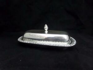 Vtg Henley Oneida Silverplate Covered W Glass Liner Butter Dish A5