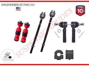 8pc Front Sway Bar Links Inner outer Tie Rod Ends Front Bushings Buick Chevrolet