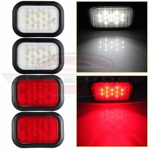 5 X3 2xred 2xwhite Rectangle 12led Stop Turn Tail Truck Light Grommet Wire Kit
