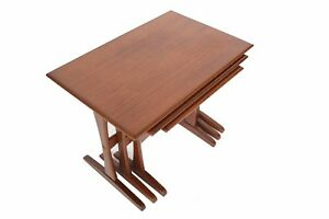 Set Of Danish Modern Mid Century Teak Nesting Tables With Extended Foot