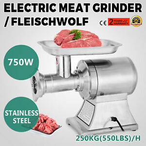 750w Home Electric Meat Grinder Mincer Sausage Stuffer Stainless Food 3blades