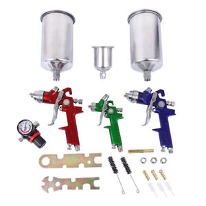 3 Hvlp Spray Gun Auto Paint Air Regulator Kit Basecoat Car Primer Clearcoat