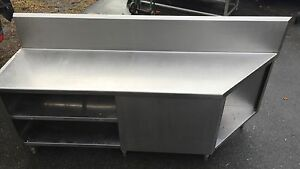 Custom Made Heavy Duty Stainless Steel Cabinet Worktop Table With Shelves 82