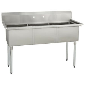 3 Three Compartment Commercial Stainless Steel Sink 59 X 23 8 G