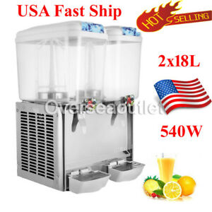 18l Commercial Juice Beverage Cold Refrigerated Drink Dispenser Machine Two Tank
