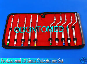 Sinus Lift Osteotomes Set 10 Pcs Convex Dental Orthodontic Implant Instruments