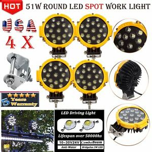 4 X 51w Round Led Work Light Spot Beam Offroad Truck Jeep Car Boat 4wd Yellow Us
