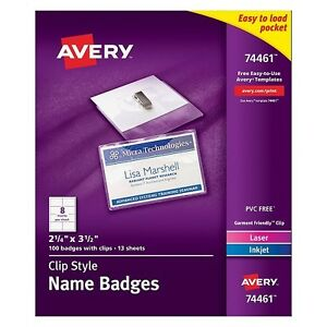 Avery Name Badge Inserts Avery Garment Friendly Clip Style Top Loading