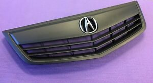New Tsx Front Bumper Upper Grill Oem Emblem Whole Kit With Molding All Black