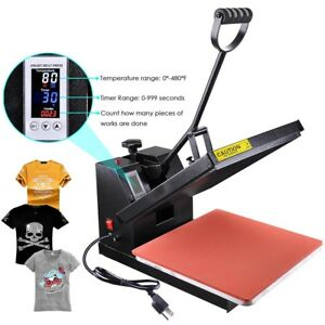 High Pressure 15x15 Heat Press Machine Sublimation Transfer Printing Lcd Timer