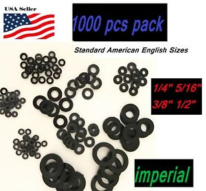 1000pcs 1 4 5 16 3 8 1 2 Sae Imperial Plastic Black Nylon Washer Flat Spacer