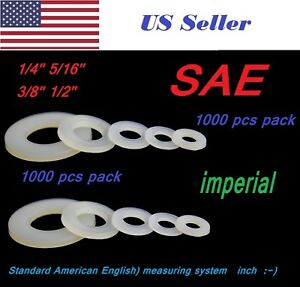1000pcs 1 4 5 16 3 8 1 2 Sae Imperial Plastic White Nylon Washer Flat Spacer