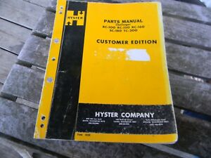 Used Hyster Challenger Forklift Parts Manual Rc 100 Rc 150 Rc 160 Sc 180 Tc 2oo