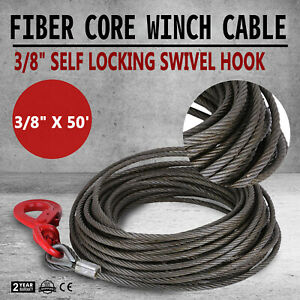 3 8 X 50 Fiber Core Winch Cable Self Locking Swivel Hook Tow Truck Wire Great