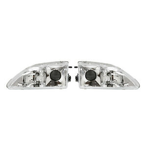 Apc Head Light Assembly 1994 1998 Ford Mustang Projector Head Lamp Chrome House