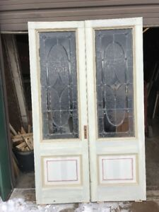An 444 Match Pair Antique Beveled Textured Glass French Doors 50 W By 81 75h