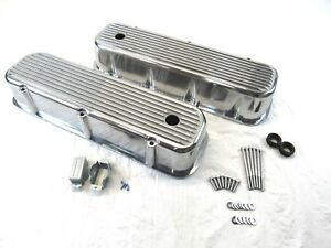 1965 95 Bbc Chevy 396 454 Tall Finned Aluminum Valve Covers Polished Bpe 2109