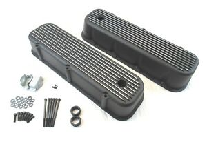 1965 95 Bbc Chevy 396 454 502 Tall Finned Aluminum Valve Covers Black Bpe 2109b