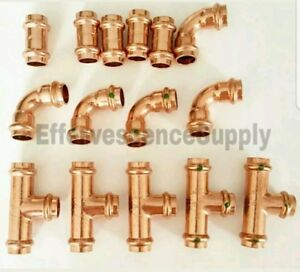 lot Of 15 3 4 Propress Copper Fittings tees Elbows Coupling Press Fitting