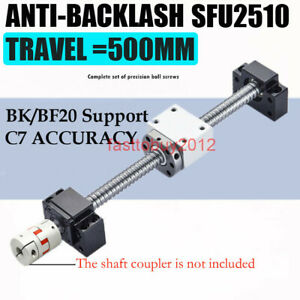 L500mm Travel Sfu2510 10mm C7 Ball Screw Pitch Bk bf20 ball Nut support Coupler