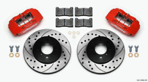Wilwood Disc Brake Kit Front Stock Replacement Honda Drilled Rotors Red Calipers