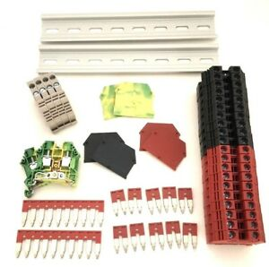 Red black Din Rail Terminal Block Kit Dinkle 20 Dk6n 8awg 50a 600v Ground Jumper